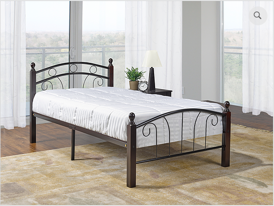IF 129 Black Metal Platform Bed with Wood Posts
