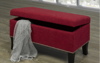 "Storage Bench 32""L 16""W 18""H  Red with Decorative Nails"