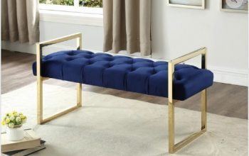 "Blue Velvet Fabric Bench with Gold Legs  43""L 18""W 21""H"