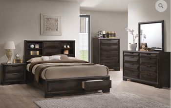 Laura Platform Bed with Bookcase headboard and 2 drawers