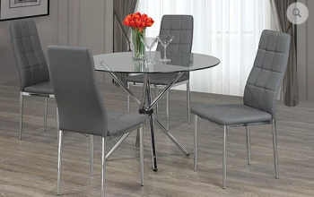 5PCS Glass Dinette Set with Grey Chairs