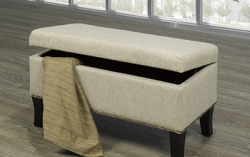 "Storage Bench 32""L 16""W 18""H  Beige with Decorative Nails"