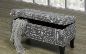 Storage Bench IF 6244 Grey French Script with Decorative Nails