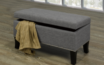 "Storage Bench 32""L 16""W 18""H  Grey with Decorative Nails"