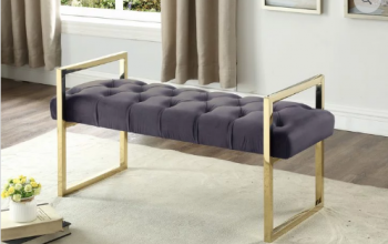 Velvet Bench with Gold Legs