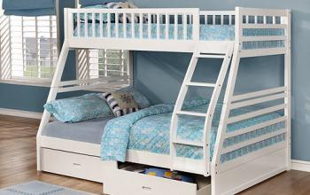 B117 White Single/Double Bunk Bed