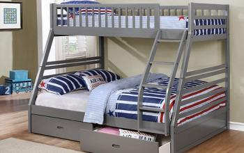 B117 Grey Single Double Bunk Bed