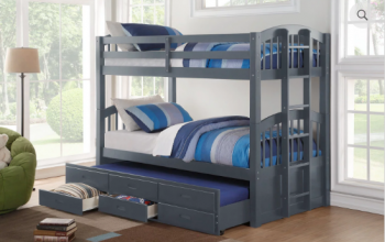 B1841 Grey Twin/Twin Captain Bunk Bed