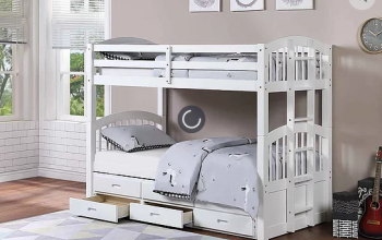 B1842 White Twin/Twin Captain Bunk Bed