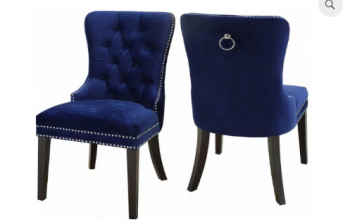 Velvet Dining Chair with Nail Head Detail