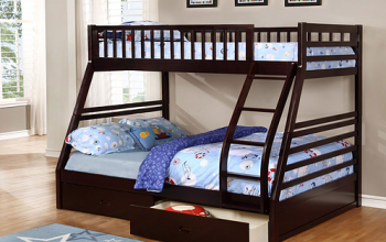 B117 Espresso Single/Double Bunk Bed with Drawers